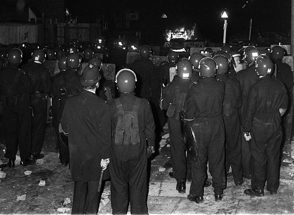 Police in riot gear during the Broadwater Farm riot (Photo: PA)