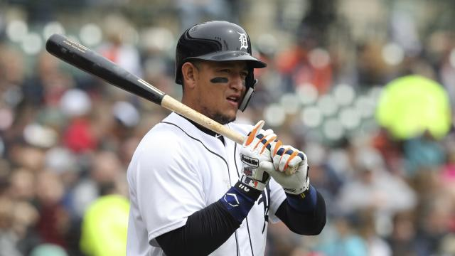 FILE - In this April 21, 2018, file photo, Detroit Tigers' Miguel Cabrera prepares to bat during the third inning of a baseball game against the Kansas City Royals, in Detroit. This will be an important season for Detroits minor league prospects, and a year from now, Tigers fans might have a better sense of how soon they might be able to watch winning baseball again. In the meantime, Detroit will hope for a healthier season for slugger Miguel Cabrera, who played just 38 games last year before having biceps surgery. (AP Photo/Carlos Osorio, File)