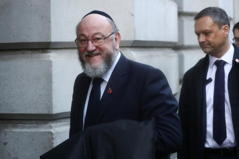 Rabbi Ephraim Mirvis, Britain's chief rabbi, arrives to attend the National Service of Remembrance, on Remembrance Sunday, at The Cenotaph in Westminster, London, Britain