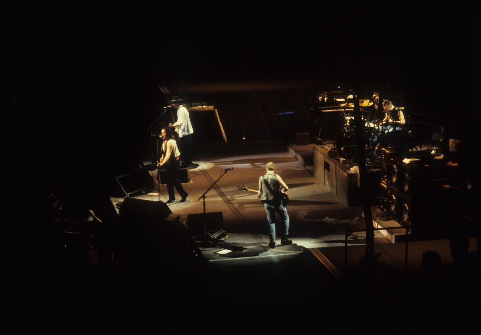 U2 perform on stage on the Joshua Tree tour, Vorst Nationaal, Brussels, Belgium, 8th July 1987. L-R Bono, The Edge, Adam Clayton and Larry Mullen Jnr. (Photo by Rob Verhorst/Redferns)
