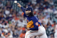 Houston Astros starting pitcher Lance McCullers Jr. throws against the Los Angeles Angels during the first inning of a baseball game Sunday, April 25, 2021, in Houston. (AP Photo/Michael Wyke)