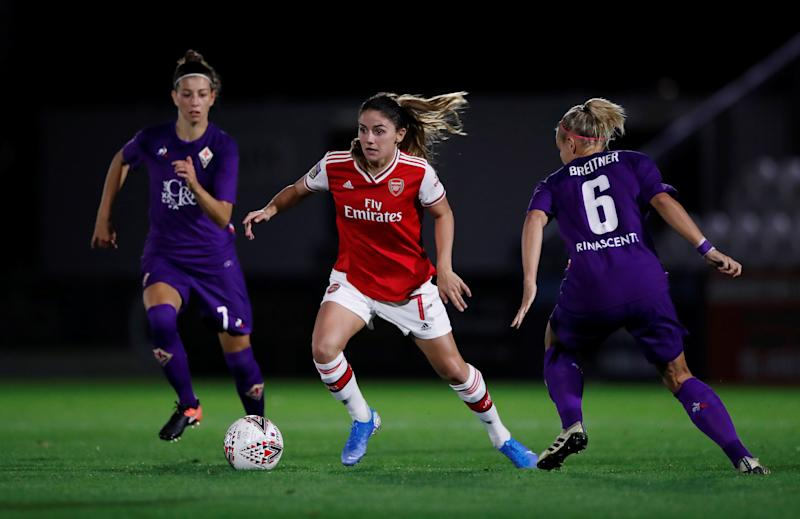 Danielle van de Donk in action with Fiorentina's Greta Adami in the Women's Champions League Action Images via Reuters/Paul Childs