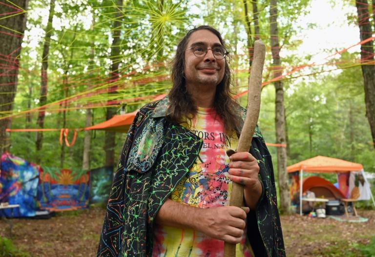 Artist Christopher Peter Vanderessen ventures every year to pay homage to what he calls the real Woodstock spirit (AFP Photo/Angela Weiss)