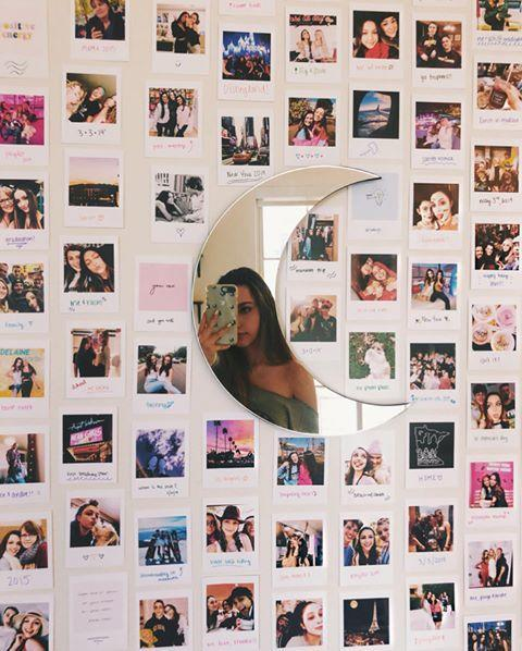 """<p>Photo collages may be one of the simplest ways to spruce up a boring white wall. Try using polaroids, a <a href=""""https://www.amazon.com/Polaroid-Printer-Technology-Bluetooth-Android/dp/B07G1G66CC/"""" rel=""""nofollow noopener"""" target=""""_blank"""" data-ylk=""""slk:pocket printer that connects to your phone"""" class=""""link rapid-noclick-resp"""">pocket printer that connects to your phone</a>, or do it the old-fashioned way by getting your images printed at your local Walgreens.</p><p><a href=""""https://www.instagram.com/p/B2PmJo3BRWQ/?igshid=6k0iggj3bpis"""" rel=""""nofollow noopener"""" target=""""_blank"""" data-ylk=""""slk:See the original post on Instagram"""" class=""""link rapid-noclick-resp"""">See the original post on Instagram</a></p>"""