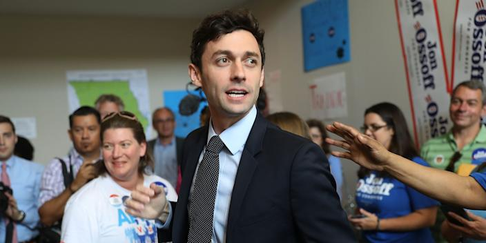 Democratic candidate Jon Ossoff speaks to volunteers and supporters at a campaign office as he runs for Georgia's 6th Congressional District on April 18, 2017 in Marietta, Georgia.