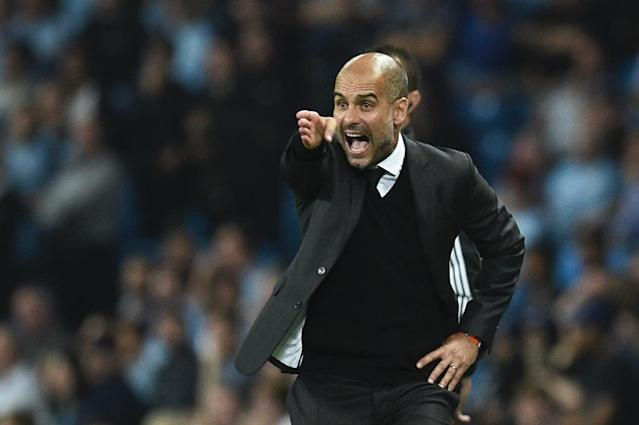 Manchester City's Spanish manager Pep Guardiola gesutres on the touchline during the UEFA Champions League group C football match between Manchester City and Borussia Monchengladbach (AFP Photo/Oli Scarff)