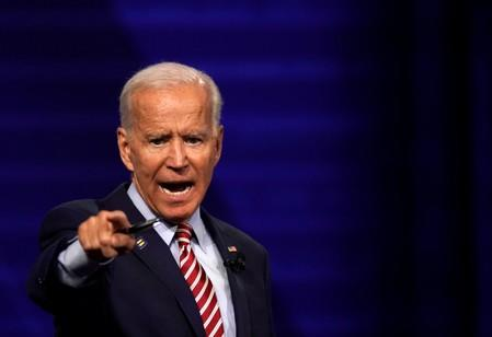 Democratic 2020 U.S. presidential candidate and former Vice President Joe Biden reacts during a televised townhall on CNN dedicated to LGBTQ issues in Los Angeles, California
