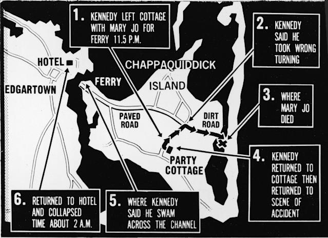<p>Map of Chappaquiddick Island, just off the island of Martha's Vineyard, that shows the locations of the major events of the evening of July 18, 1969, when a car driven by Sen. Edward Kennedy crashed off of a bridge resulting in the death of Mary Jo Kopechne, late 1969. (Photo: Express Newspapers/Getty Images) </p>