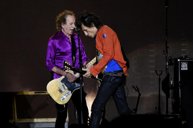 Keith Richards and Ronnie Wood as the Rolling Stones perform at Mile High Stadium August 10, 2019 in Denver, Colorado. (Photo by Joe Amon/MediaNews Group/The Denver Post via Getty Images)