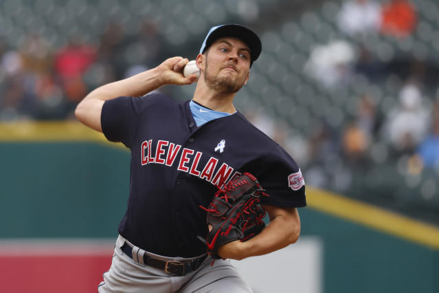 Cleveland Indians pitcher Trevor Bauer throws in the seventh inning of a baseball game against the Detroit Tigers in Detroit, Sunday, June 16, 2019. (AP Photo/Paul Sancya)