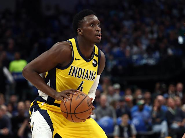 After spending a full year rehabbing from a torn quad tendon, Victor Oladipo played in just 13 games for the Pacers before the league suspended play in March. (Ronald Martinez/Getty Images)