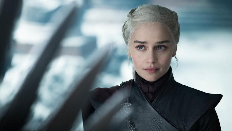 Emilia Clarke wearing black as Daenerys Targaryen on Game of Thrones