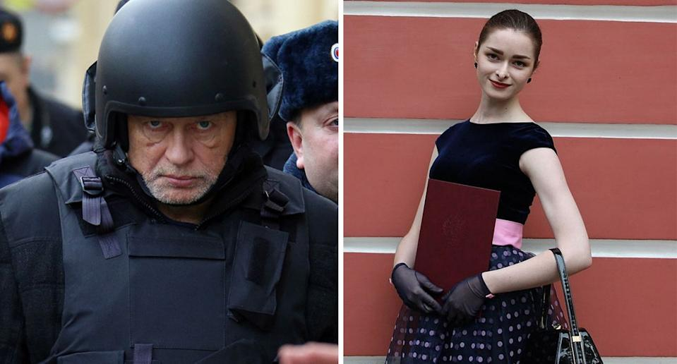 Pictured left is Oleg Sokolov at the crime scene with authorities. Right is Anastasia Yeshchenko who he is accused of murdering.