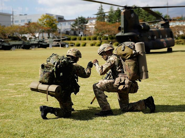 Japan ground self defense force British troops soldiers exercise