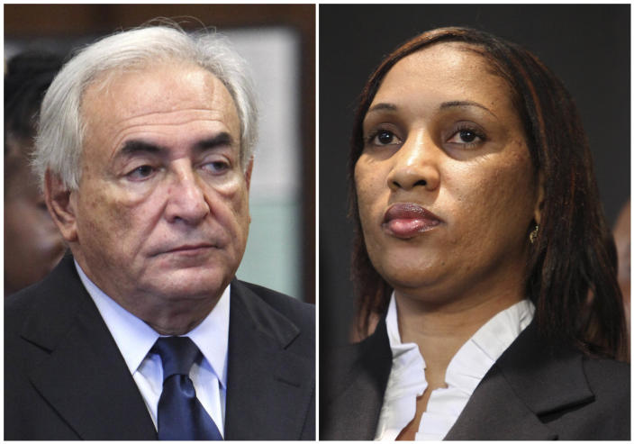 FILE - This combo made from file photos shows former International Monetary Fund leader Dominique Strauss-Kahn on June 6, 2011, left, and Nafissatou Diallo on July 28, 2011, in New York. Diallo's sexual assault lawsuit against the former IMF leader could wrap up as soon as Monday, Dec. 10, 2012, in a quiet deal. A person familiar with the case tells The Associated Press the court date concerns a possible settlement. (AP File Photos)