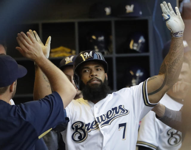 If a month like April is in Eric Thames, then so too can it be in him in September for the Milwaukee Brewers. (AP)