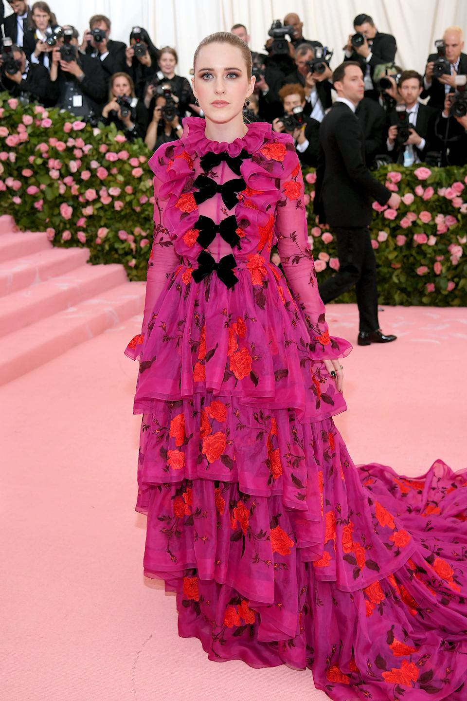'The Marvelous Mrs. Maisel' actress turned heads in a look dominated by bows, roses and ruffles. Photo: Getty Images