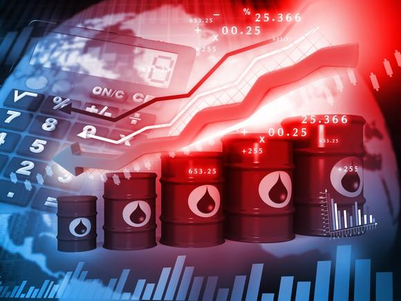 Barrels of oil rising in height with an upward-pointing red arrow in the background.