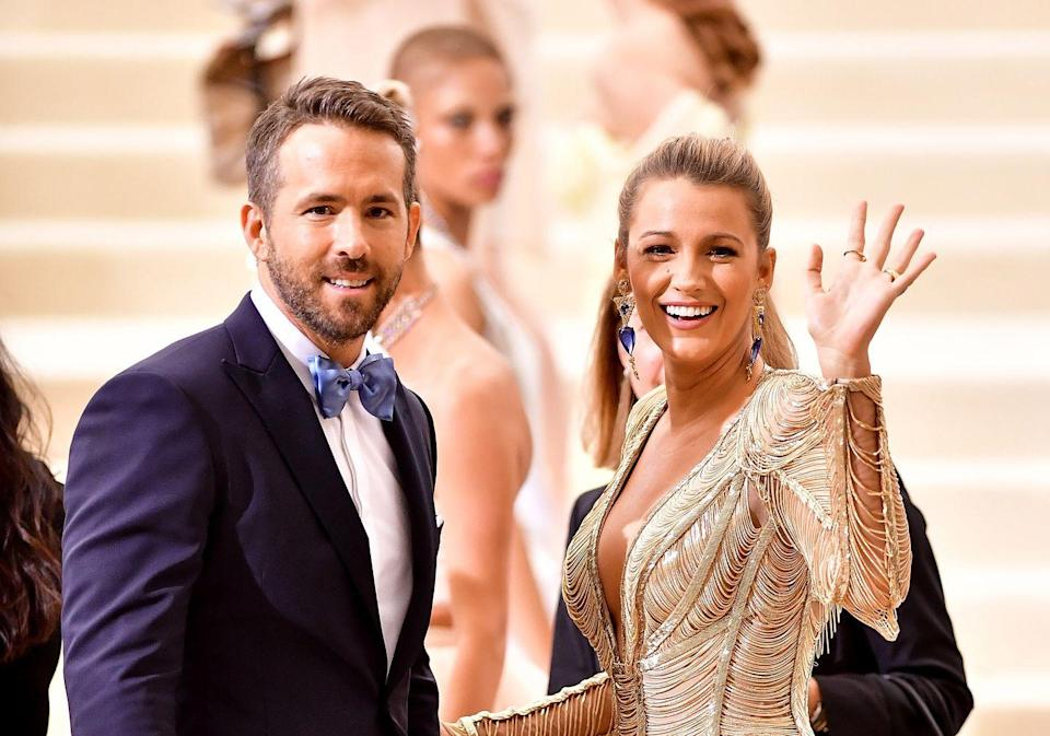 """<p>The Power Couple co-ordinate their outfits at<a href=""""https://www.elle.com/uk/life-and-culture/culture/news/a35496/blake-lively-gold-dress-ryan-reynolds-met-gala-2017/"""" rel=""""nofollow noopener"""" target=""""_blank"""" data-ylk=""""slk:the 2017 Met Gala."""" class=""""link rapid-noclick-resp""""> the 2017 Met Gala.</a></p>"""