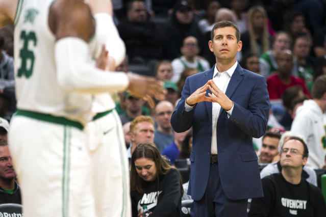 "While Brad Stevens thinks his players ""usually do a pretty good job"" managing sleep during the season, he knows he can't enforce healthy sleep habits. (Nic Antaya/The Boston Globe/Getty Images)"