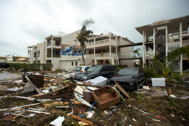 "<p>Damage is seen outside the ""Mercure"" hotel in Marigot, on the Bay of Nettle, on the island of Saint-Martin in the northeast Caribbean, after the passage of Hurricane Irma on Sept. 6, 2017. (Photo: Lionel Chamoiseau/AFP/Getty Images) </p>"