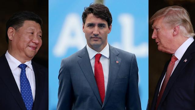 A photo illustration showing China's President Xi, Canada's Prime Minister Trudeau and U.S. President Trump (Yahoo Finance)