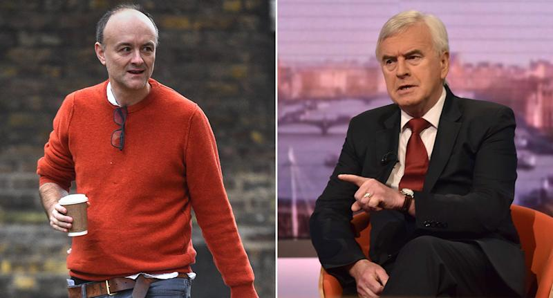 The new chancellor has been branded a 'Dominic Cummings (left) stooge' by John McDonnell. (PA Images)