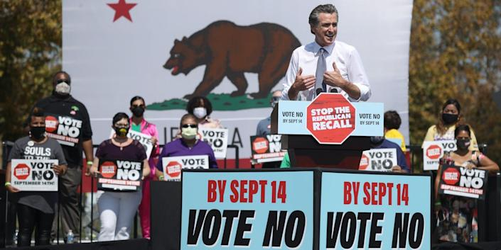 California Gov. Gavin Newsom speaks during a No on the Recall campaign event with U.S. Vice President Kamala Harris at IBEW-NECA Joint Apprenticeship Training Center on September 08, 2021 in San Leandro, California