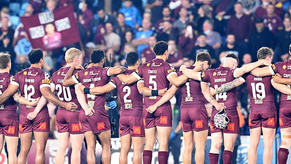 Queensland got an unexpected rev-up after the pre-game Welcome to Country before State of Origin III. (Photo by Bradley Kanaris/Getty Images)