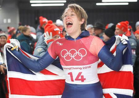 FILE PHOTO: Pyeongchang 2018 Winter Olympics Skeleton - Pyeongchang 2018 Winter Olympics - Women's Finals - Olympic Sliding Centre - Pyeongchang, South Korea - February 17, 2018 - Lizzy Yarnold of Britain celebrates. REUTERS/Arnd Wiegmann/File Photo