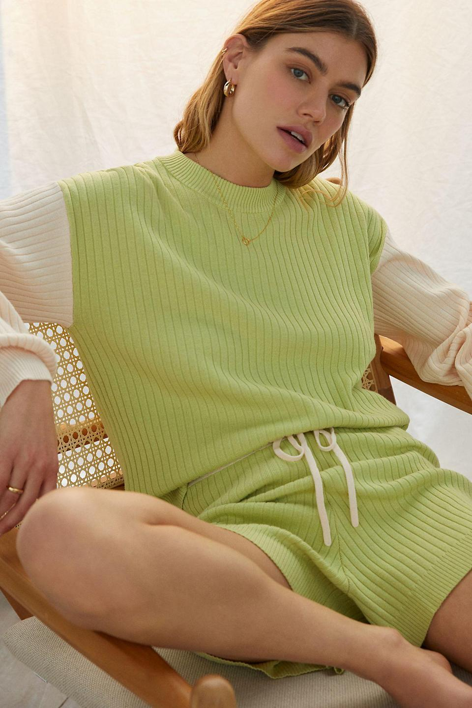 """<br><br><strong>Saturday/Sunday</strong> Colorblocked Knit Lounge Set, $, available at <a href=""""https://go.skimresources.com/?id=30283X879131&url=https%3A%2F%2Fwww.anthropologie.com%2Fshop%2Fcolorblocked-knit-lounge-set"""" rel=""""nofollow noopener"""" target=""""_blank"""" data-ylk=""""slk:Anthropologie"""" class=""""link rapid-noclick-resp"""">Anthropologie</a>"""