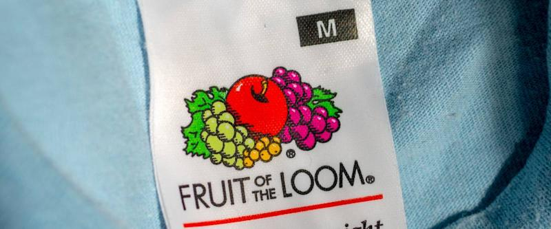 Fruit of the Loom Logo inside an item of clothing.
