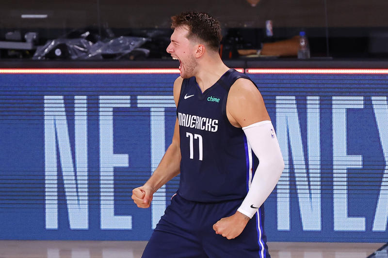 Luka Doncic celebrates his game-winning shot against the Los Angeles Clippers. (Photo by Kevin C. Cox/Getty Images)