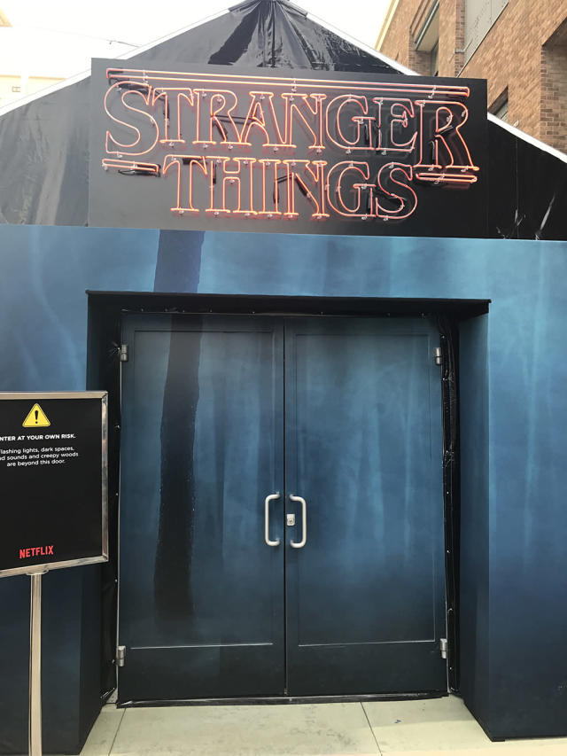 <p>Is this the door to the Upside Down? We appreciate the warning signs.<br><br>(Photo: Giana Mucci/Yahoo) </p>