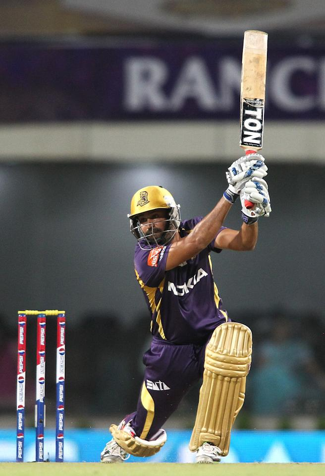 Yusuf Pathan of Kolkata Knight Riders drives a delivery to the boundary during match 65 of the Pepsi Indian Premier League between The Kolkata Knight Riders and the Pune Warriors India held at the JSCA International Stadium Complex, Ranchi, India on the 15th May 2013..Photo by Shaun Roy-IPL-SPORTZPICS    ..Use of this image is subject to the terms and conditions as outlined by the BCCI. These terms can be found by following this link:..https://ec.yimg.com/ec?url=http%3a%2f%2fwww.sportzpics.co.za%2fimage%2fI0000SoRagM2cIEc&t=1506145992&sig=7zFbXpwAdzdz3mn3gv_xjg--~D