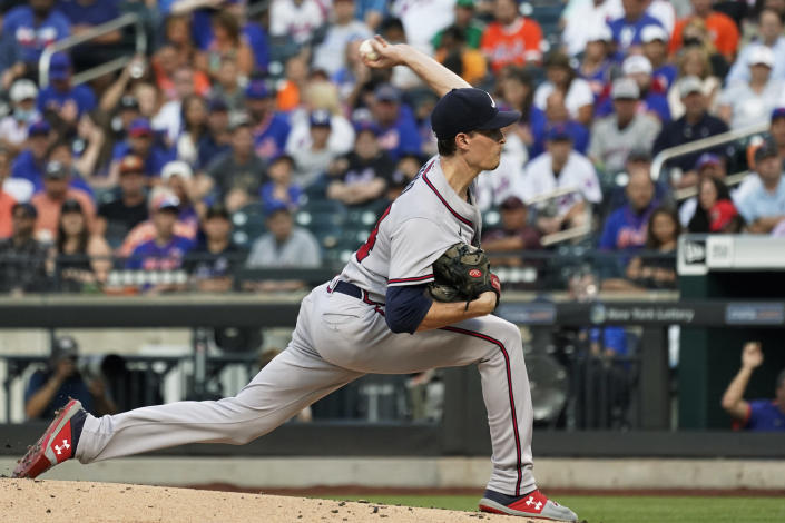 Atlanta Braves pitcher Max Fried delivers during the first inning of the team's baseball game against the New York Mets, Wednesday, July 28, 2021, in New York. (AP Photo/Mary Altaffer)