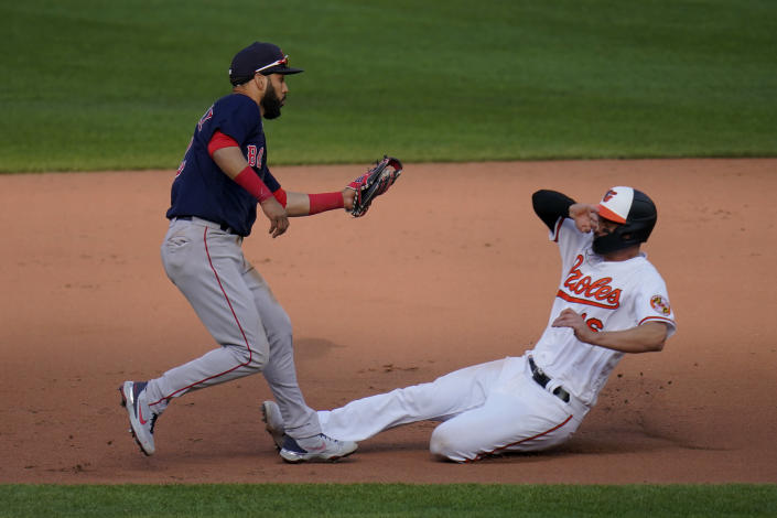 Boston Red Sox shortstop Marwin Gonzalez, left, tags out Baltimore Orioles' Trey Mancini for the force out on a ground ball hit by Anthony Santander during the eighth inning of a baseball game, Thursday, April 8, 2021, on Opening Day in Baltimore. The Red Sox won 7-3. (AP Photo/Julio Cortez)