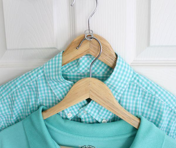 """<p>Hooked together with a can tab, two hangers eat up way less closet space.</p><p><a href=""""http://www.theshabbycreekcottage.com/2015/01/closet-hacks.html"""" rel=""""nofollow noopener"""" target=""""_blank"""" data-ylk=""""slk:Get the tutorial at The Shabby Creek Cottage »"""" class=""""link rapid-noclick-resp""""><em>Get the tutorial at The Shabby Creek Cottage »</em></a></p>"""