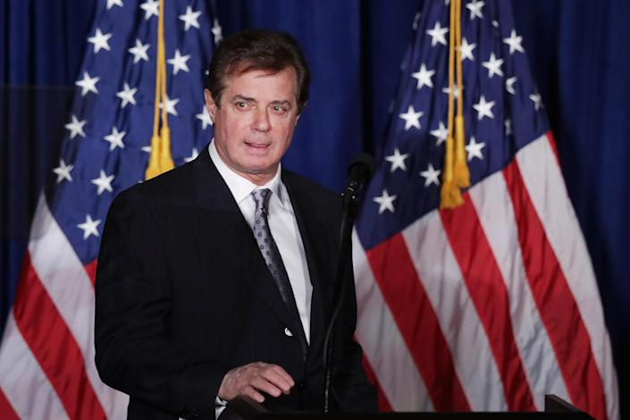 Paul Manafort, then adviser to Republican presidential candidate Donald Trump's campaign, checks the teleprompters before Trump's speech at the Mayflower Hotel on April 27, 2016, in Washington, D.C. (Photo: Chip Somodevilla/Getty Images)