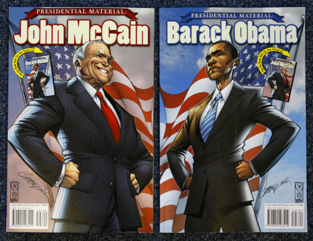 The comic book biographies of U.S. Democratic presidential nominee Senator Barack Obama (D-IL) and U.S. Republican presidential nominee Senator John McCain (R-AZ) are seen at their publishers office in San Diego October 6, 2008. The life stories of U.S. presidential candidates John McCain and Barack Obama hit comic book stands on October 8 -- and the company behind the illustrated bios hopes plenty of adults will buy them. Picture taken October 6, 2008. REUTERS/Mike Blake