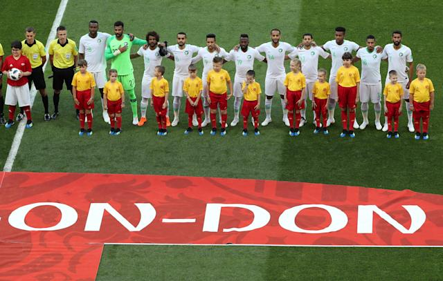 Soccer Football - World Cup - Group A - Uruguay vs Saudi Arabia - Rostov Arena, Rostov-on-Don, Russia - June 20, 2018 Saudi Arabia players line up during the national anthems REUTERS/Marcos Brindicci