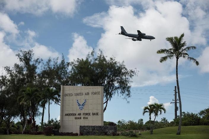 The entrance to Andersen air force base in the town of Yigo on Guam island - Guam is home to two large US military installations and more than 6,000 military personnel (AFP Photo/Ed Jones)