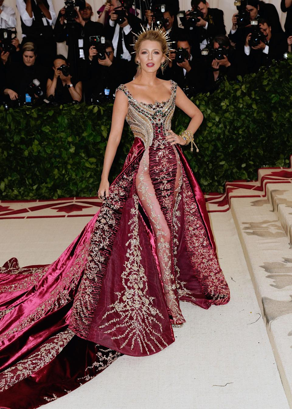 Blake Lively donned a show-stopping gown for the 2018 Met Gala. Image: Getty