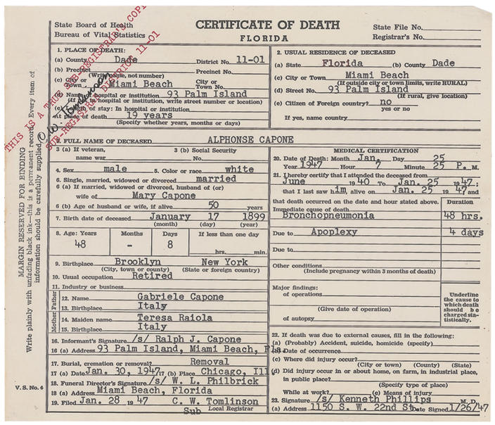 """This image released Thursday, May 30, 2013, by RR Auction in Amherst, N.H., shows the death certificate for gangster Al Capone. The document is part of an """"Old West, Gangsters and Mobsters"""" collection that will be auctioned in June. Capone died in 1947 at age 48. (AP Photo/RR Auction)"""