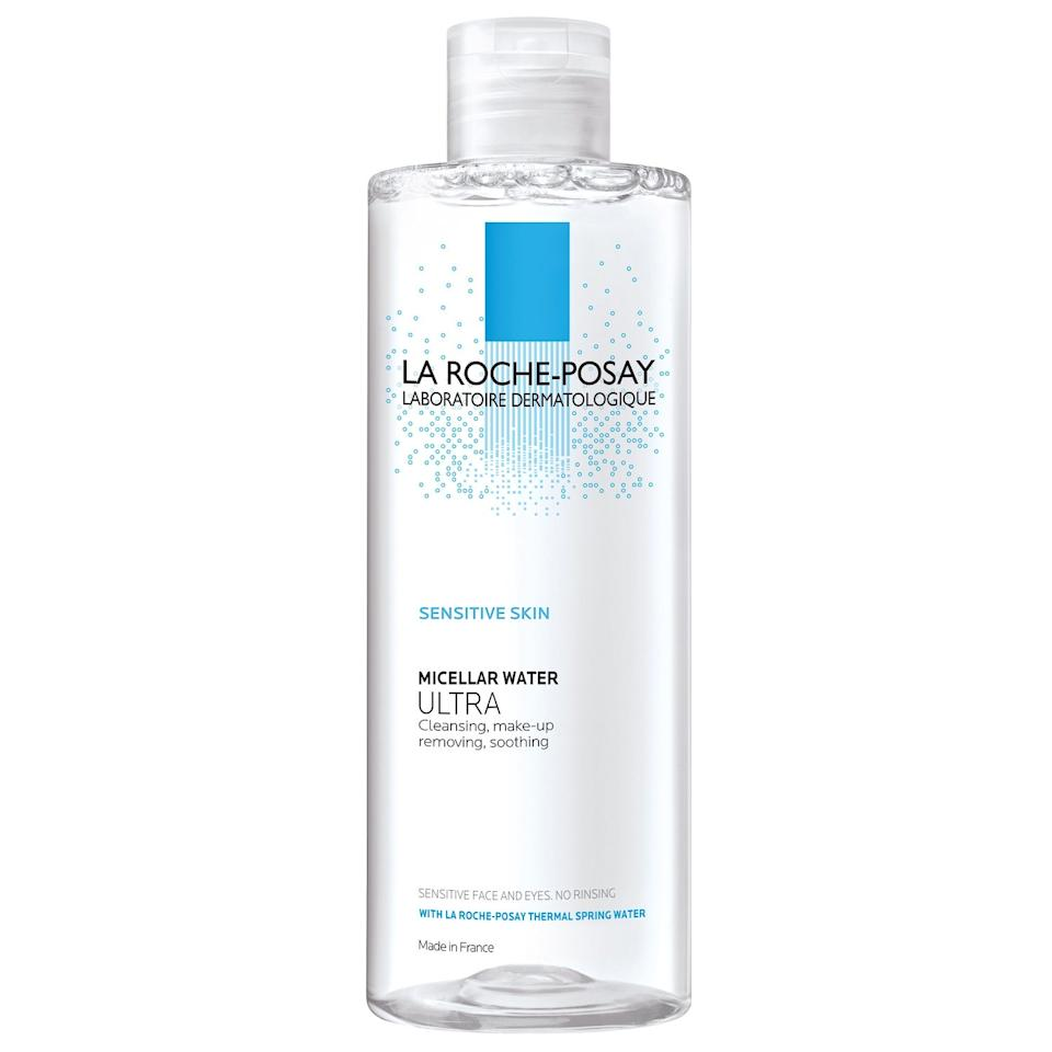 """<p>This micellar water from La Roche Posay contains alpha-hydroxy acids (citric acid, to be exact), so this formula does a whole lot more than remove <a href=""""https://www.allure.com/story/waterproof-makeup-truths-and-myths?mbid=synd_yahoo_rss"""">stubborn makeup</a>. Hydroxy acids chemically exfoliate away dead skin cells and excess oils while brightening the complexion and helping skin absorb other products like toners, serums, and moisturizers.</p> <p><strong>$20</strong> (<a href=""""https://shop-links.co/1620887152998465234"""" rel=""""nofollow"""">Shop Now</a>)</p>"""