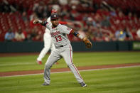 Washington Nationals third baseman Starlin Castro throws out St. Louis Cardinals' John Gant at first during the fifth inning of a baseball game Monday, April 12, 2021, in St. Louis. (AP Photo/Jeff Roberson)