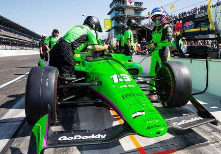 FILE PHOTO: IndyCar Series driver Danica Patrick during Carb Day practice for the 102nd Running of the Indianapolis 500 at Indianapolis Motor Speedway in Indianapolis, Indiana, May 25, 2018. Mark J. Rebilas-USA TODAY Sports/File Photo