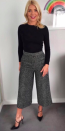 """<p>Keep it monochrome this winter like Holly in a Massimo Dutti get-up. Holly finished her woollen <a rel=""""nofollow noopener"""" href=""""https://www.massimodutti.com/gb/women/trousers/view-all/culotte-fit-wool-boucl%C3%A9-trousers-c911198p8009005.html?colorId=800&parentId=8009072"""" target=""""_blank"""" data-ylk=""""slk:culottes"""" class=""""link rapid-noclick-resp"""">culottes</a> with a pair of Office heels and a bold lip. <em>[Photo: Instagram]</em> </p>"""