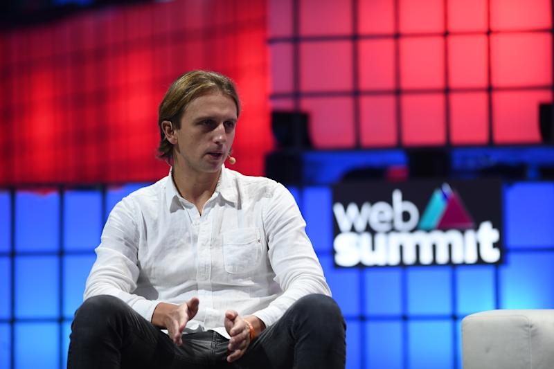 LISBON , PORTUGAL - 7 November 2019; Nikolay Storonsky, Founder, Revolut, on Centre stage during the final day of Web Summit 2019 at the Altice Arena in Lisbon, Portugal. (Photo By Harry Murphy/Sportsfile for Web Summit via Getty Images)