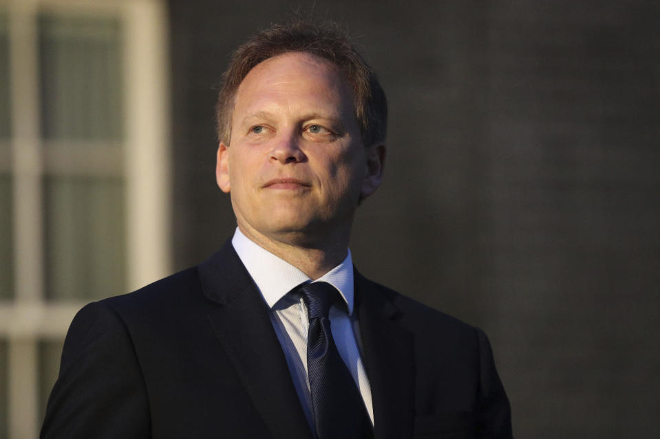 Newly installed Transport Secretary Grant Shapps leaves Downing Street, London, after meeting the new Prime Minister Boris Johnson, Wednesday, July 24, 2019. (Jonathan Brady/PA via AP)